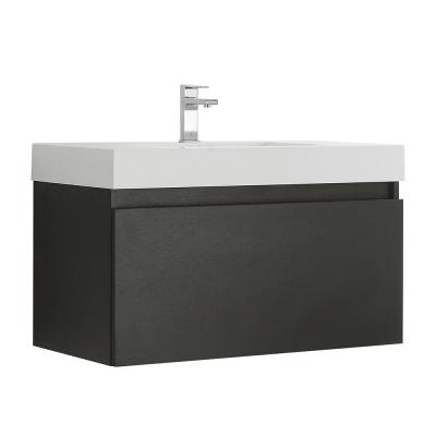 Mezzo 36 in. Modern Wall Hung Bath Vanity in Black with Vanity Top in White with White Basin