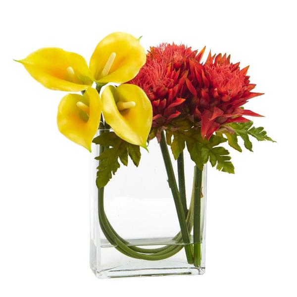 12 in. High Yellow Orange Calla Lily and Artichoke in Rectangular Glass Vase Artificial Arrangement