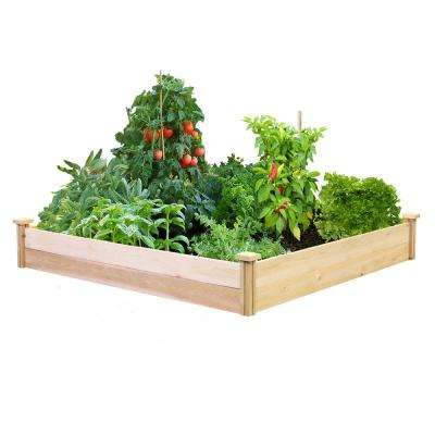 4 ft. x 4 ft. x 7 in. Unfinished (0.5 in. to 0.625 in. T) Value Cedar Raised Garden Bed