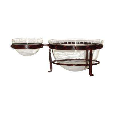 Mission 6 in. x 16 in. x 11 in. Decorative Chip and Dip Server in Montana Rustic and Clear