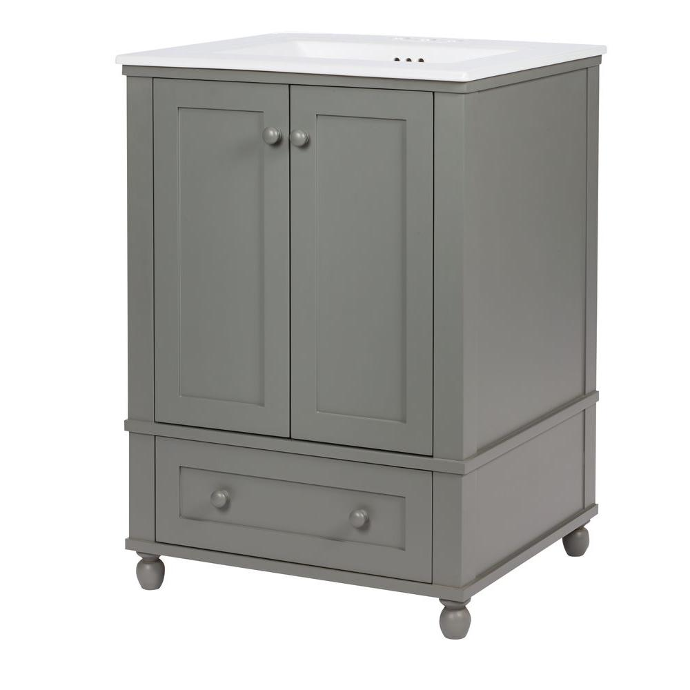 Home Decorators Collection Inman 24 5 In W X 22 D 34 H Vanity Cool Gray With Vitreous China Top White