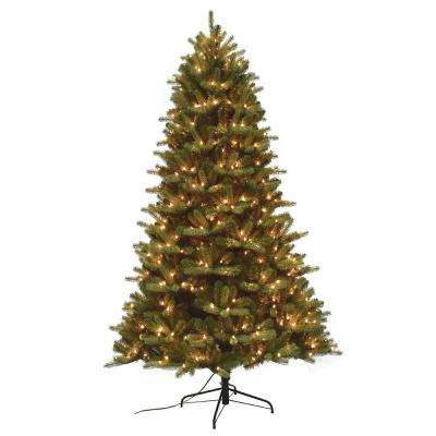 7.5 ft. Pre-Lit Mixed Balsam PE and PVC  Artificial Christmas  Trees with 600 Lights