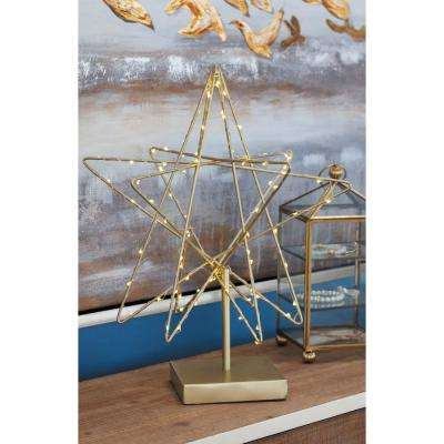 16 in. x 12 in. LED Star Decorative Sculpture in White and Gold