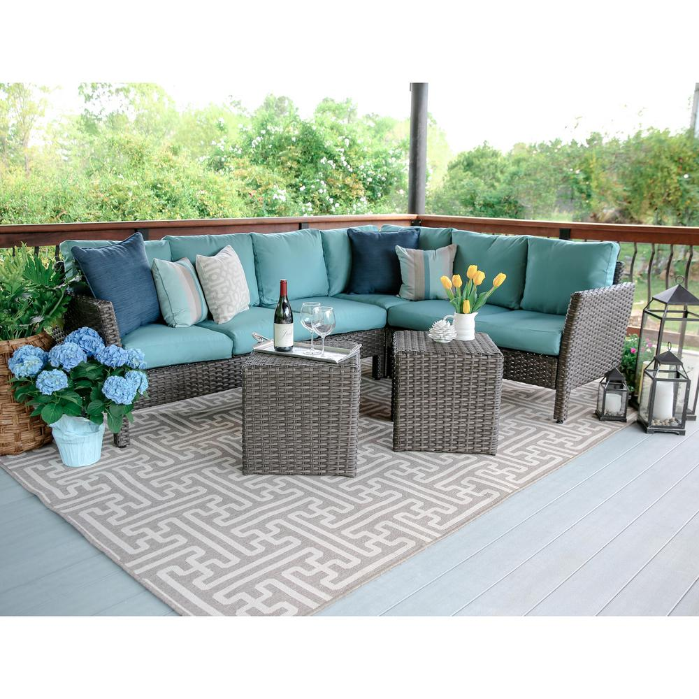 Canton 6 Piece Wicker Outdoor Sectional Set With Blue Cushions 768943 Blu The Home Depot
