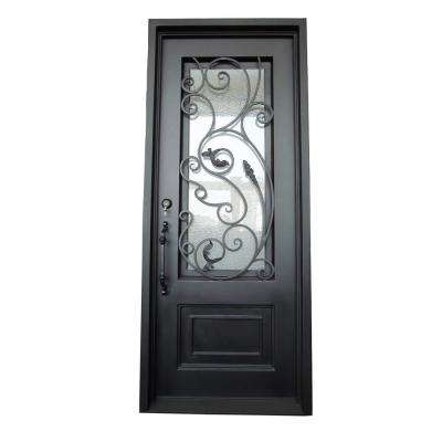 40 in. x 96 in. Matte Black Right-Hand Inswing Clear Iron Single Prehung Front Door