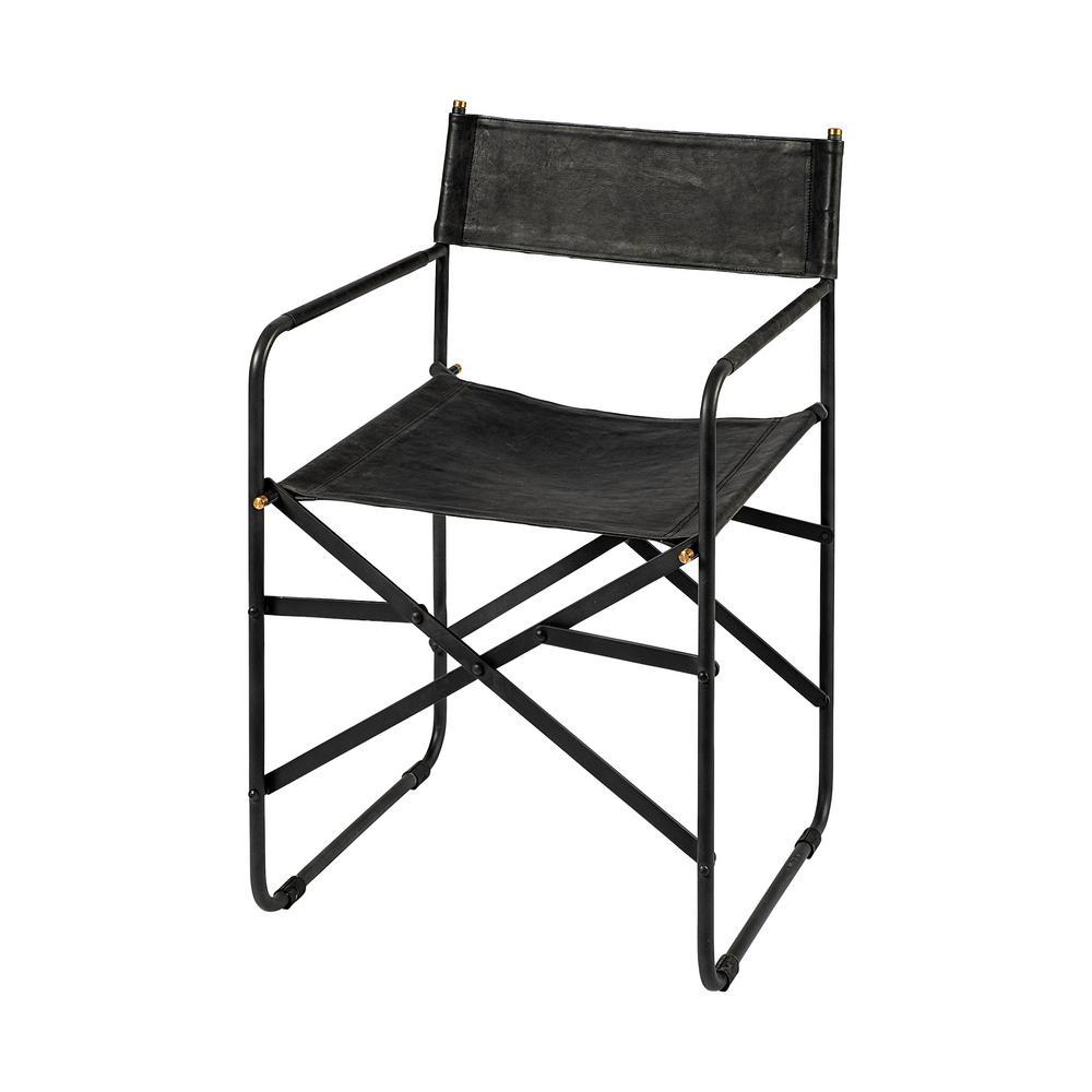 Onyx Black Leather Armchair