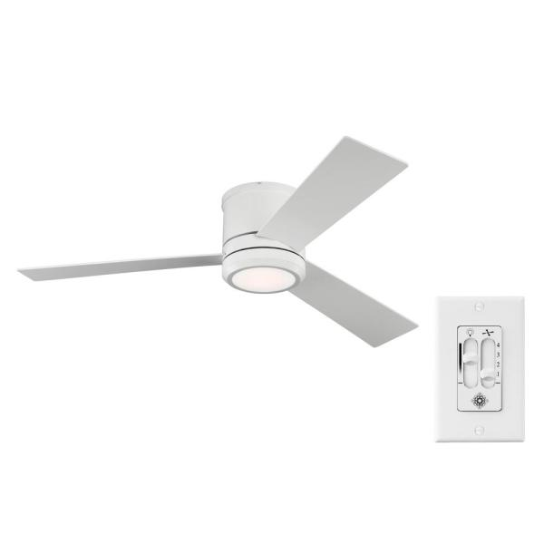 Clarity Max 56 on. Integrated LED Indoor/Outdoor Matte White Flush Mount Ceiling Fan with Wall Switch Control