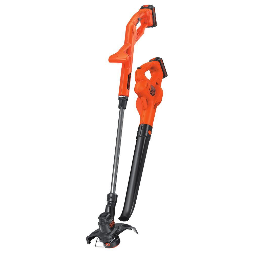 black decker 20 volt max lithium ion cordless string trimmer sweeper combo kit 2 tool with 2. Black Bedroom Furniture Sets. Home Design Ideas