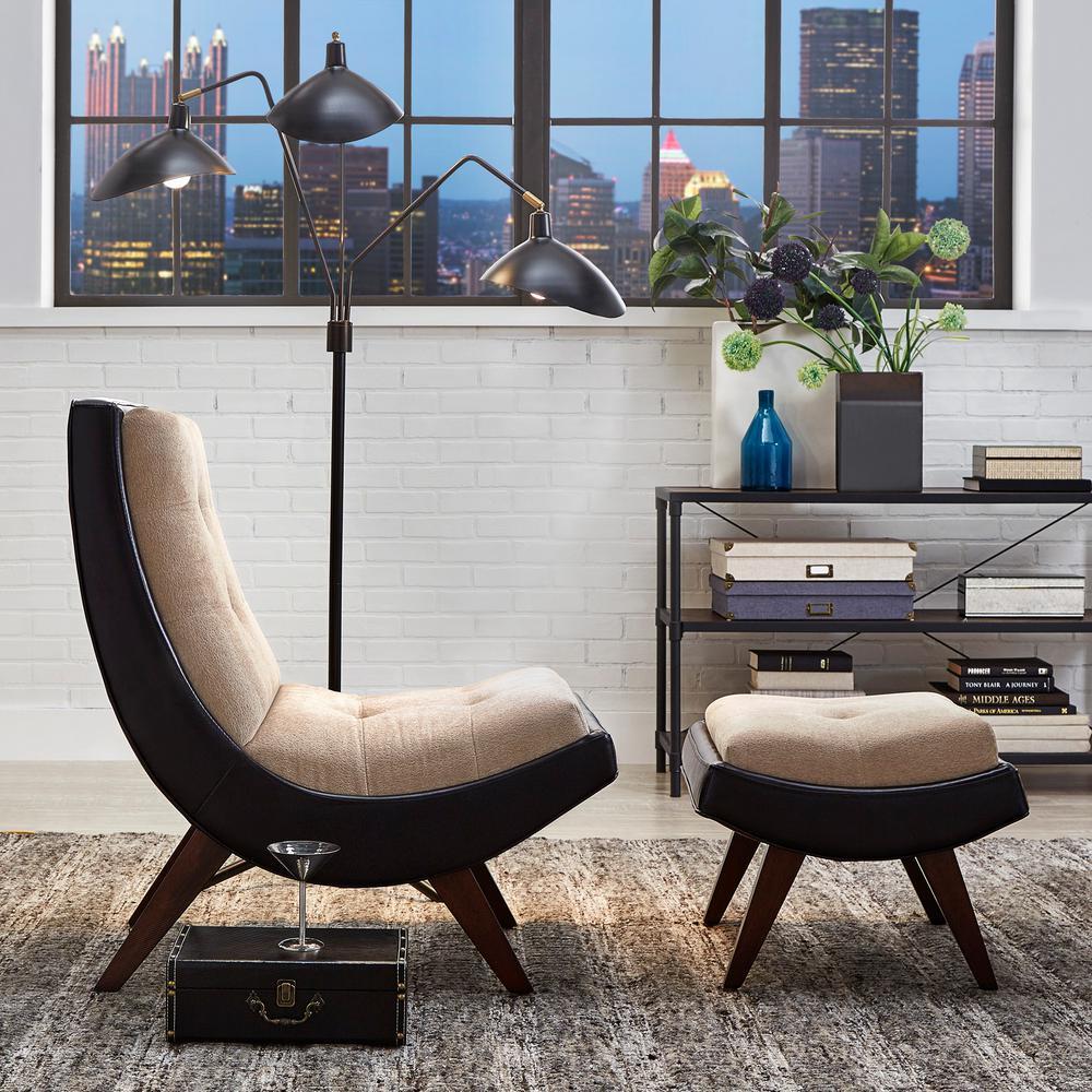 HomeSullivan Peat Velvet Tufted Chair with Ottoman