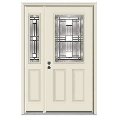 52 in. x 80 in. 1/2 Lite Cordova Primed Steel Prehung Right-Hand Inswing Front Door with Left-Hand Sidelite