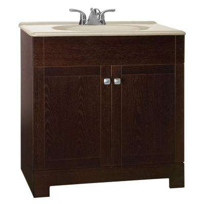 Renditions 31 in. W Bath Vanity in Java Oak with Solid Surface Vanity Top in Wheat with Wheat Sink