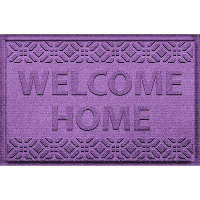 Welcome Home Purple 24 in. x 36 in. Polyproyplene Door Mat