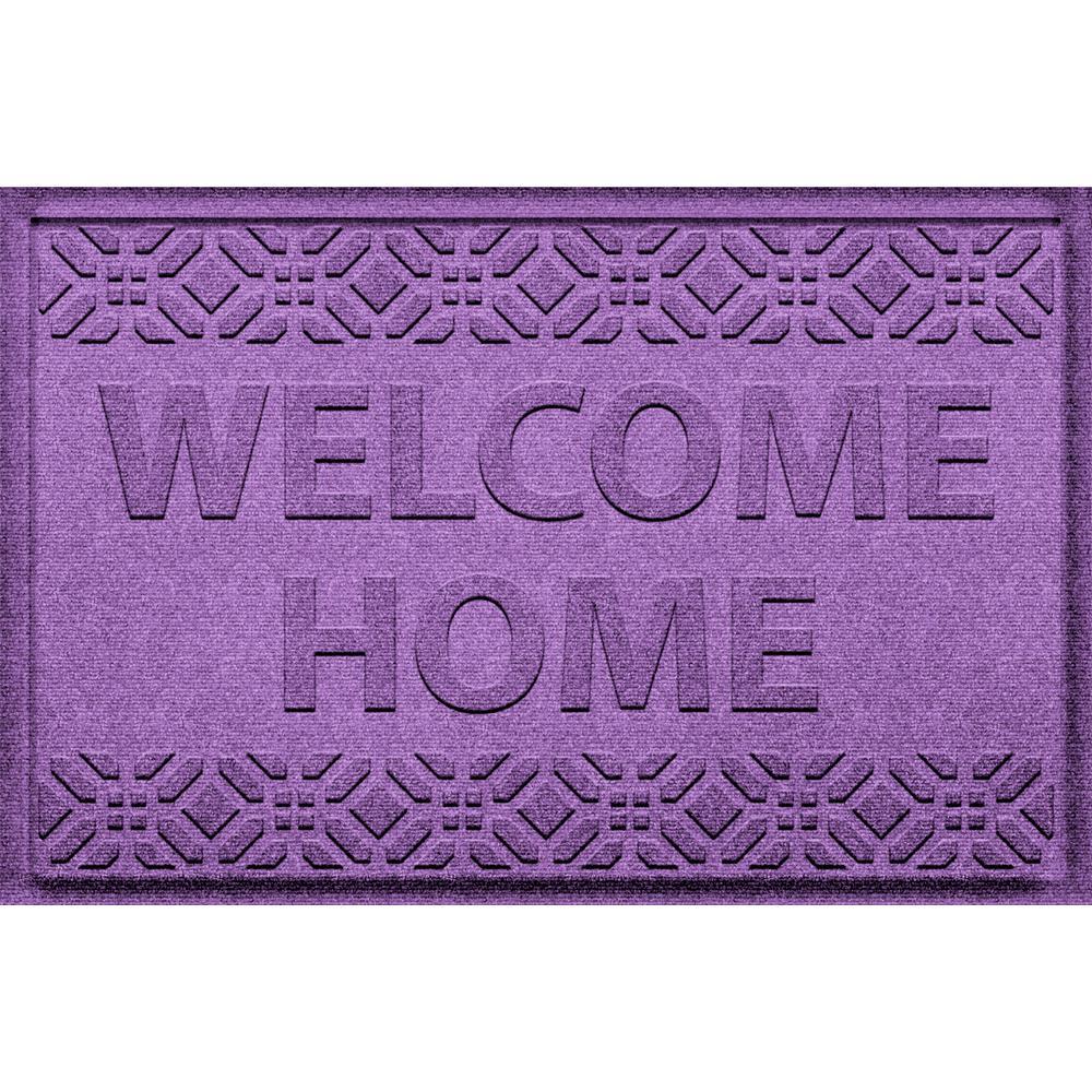 Welcome Home Purple 24 in. x 36 in. Polyproyplene Door Mat
