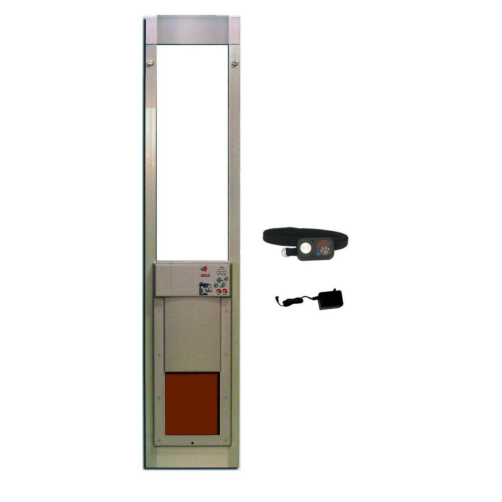 High Tech Pet 8 14 In X 10 In Power Pet Fully Automatic Patio Pet Door With Dual Pane Lowe Glass Short Track Height