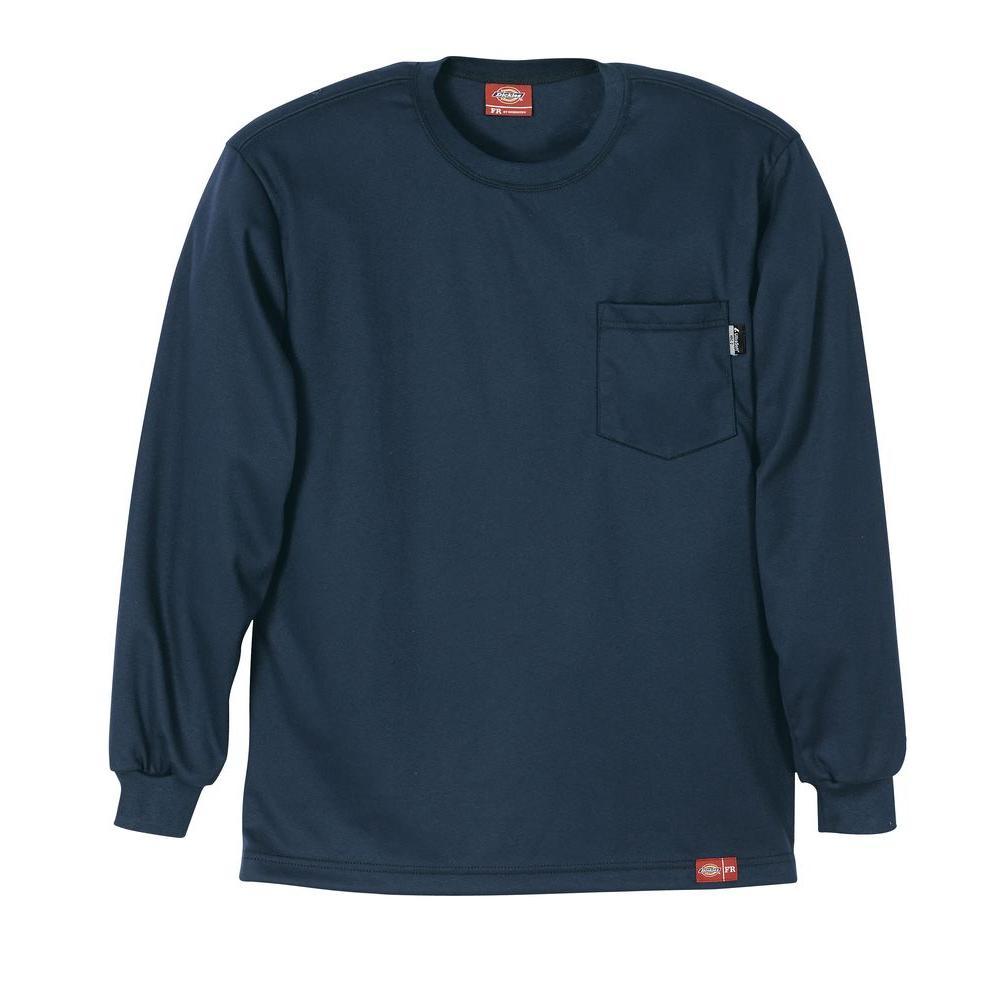 Men's 2X Navy Flame Resistant Long Sleeve T-shirt