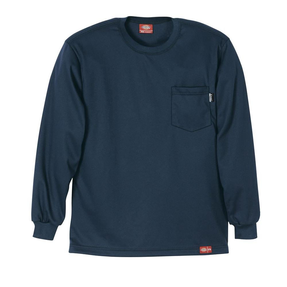Dickies Men's Extra Large Navy Flame Resistant Long Sleeve T-shirt