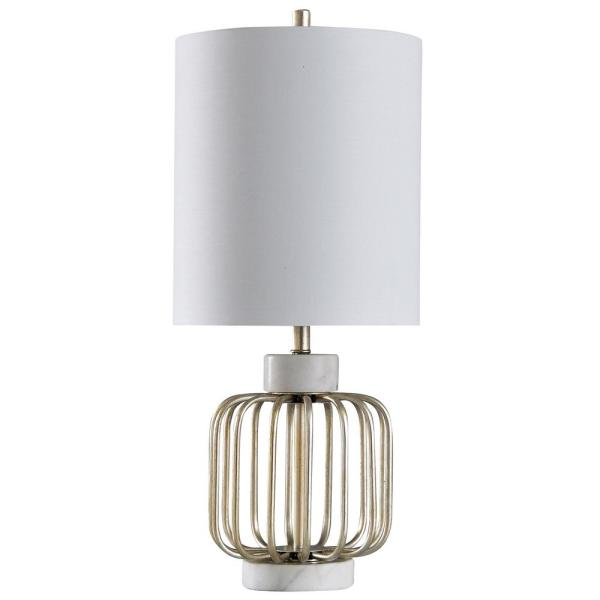 Westray 30 in. White Marble and Brass Table Lamp