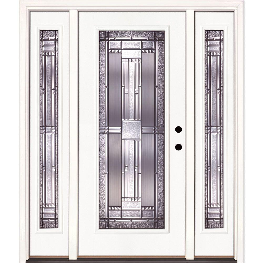 Feather River Doors 63.5 in. x 81.625 in. Preston Patina Full Lite Unfinished Smooth Left-Hand Fiberglass Prehung Front Door with Sidelites