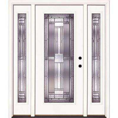 63.5 in. x 81.625 in. Preston Patina Full Lite Unfinished Smooth Left-Hand Fiberglass Prehung Front Door with Sidelites