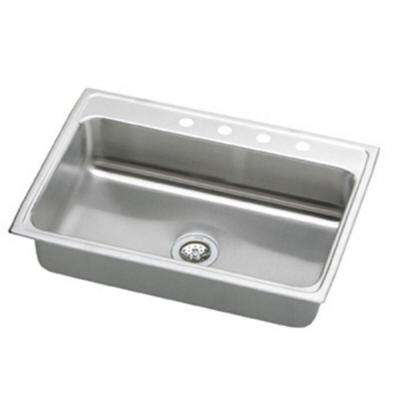 Lustertone Drop-In Stainless Steel 33 in. 4-Hole Single Bowl Kitchen Sink