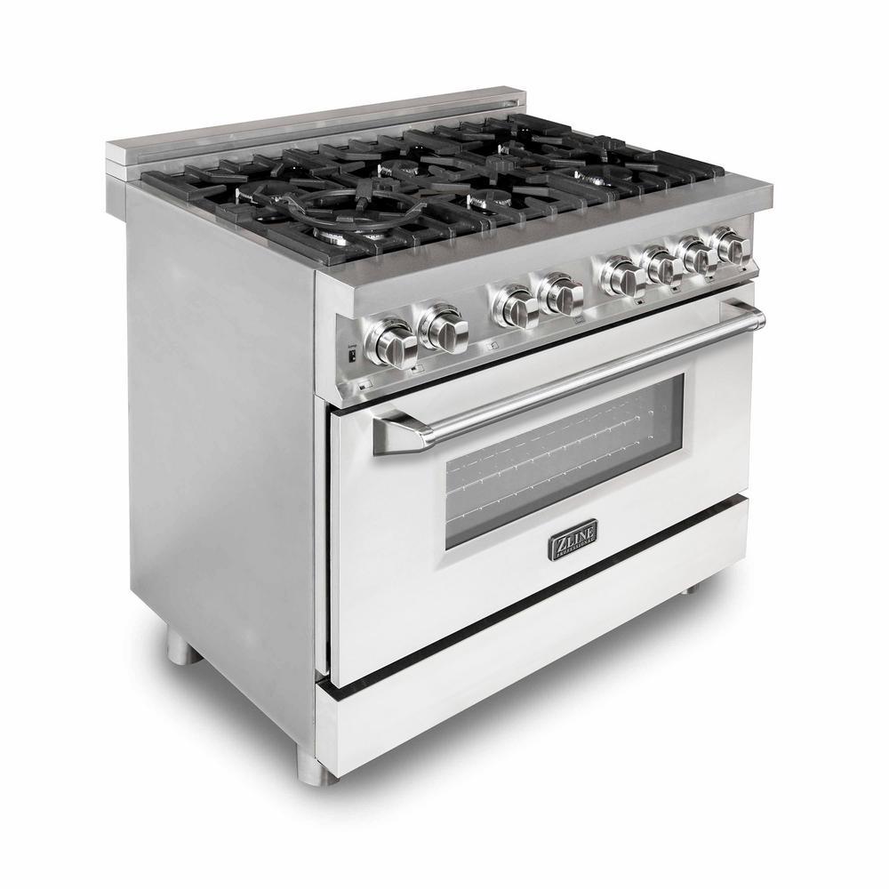 ZLINE Kitchen and Bath ZLINE 36 in. Professional Dual Fuel Range with White Matte Door (RA-WM-36)