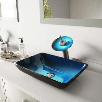 Rectangular Glass Vessel Bathroom Sink in Turquoise Water with Waterfall Faucet Set in Brushed Nickel