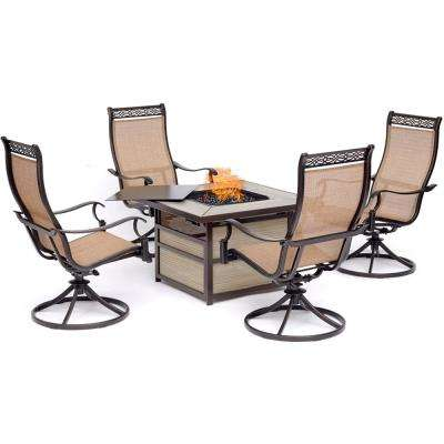Monaco 5-Piece Aluminum Patio Conversation Set with 4 Sling Swivel Rockers and 40,000 BTU Gas Fire Pit Coffee Table