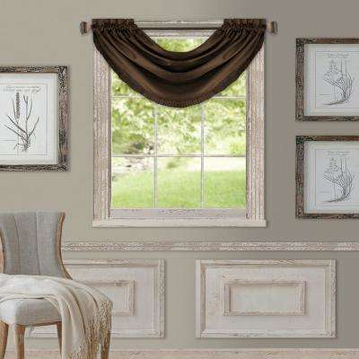 Elrene Versailles 52 in. W x 36 in. L Polyester Single Blackout Window Valance in Chocolate