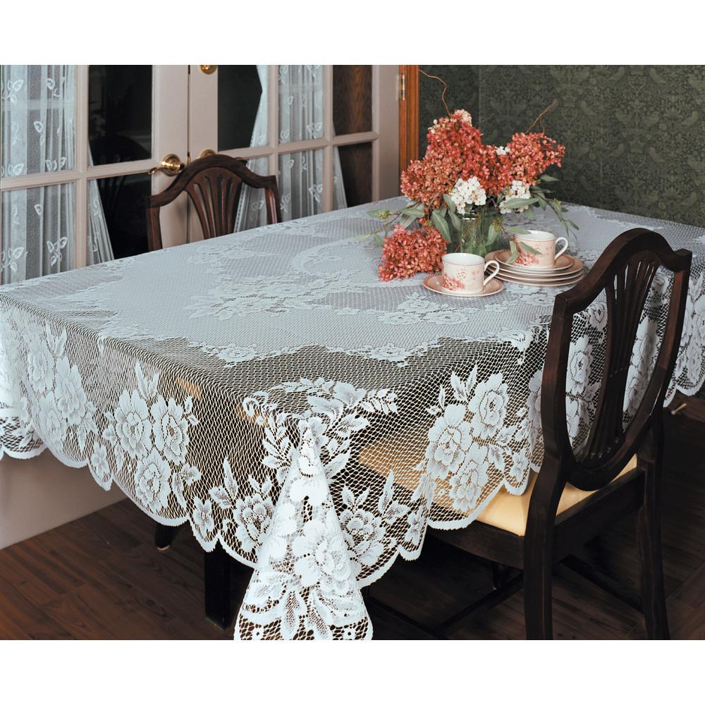 Victorian Rose Rectangle ECRU Polyester Tablecloth