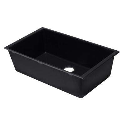Undermount Granite Composite 33 in. Single Bowl Kitchen Sink in Black