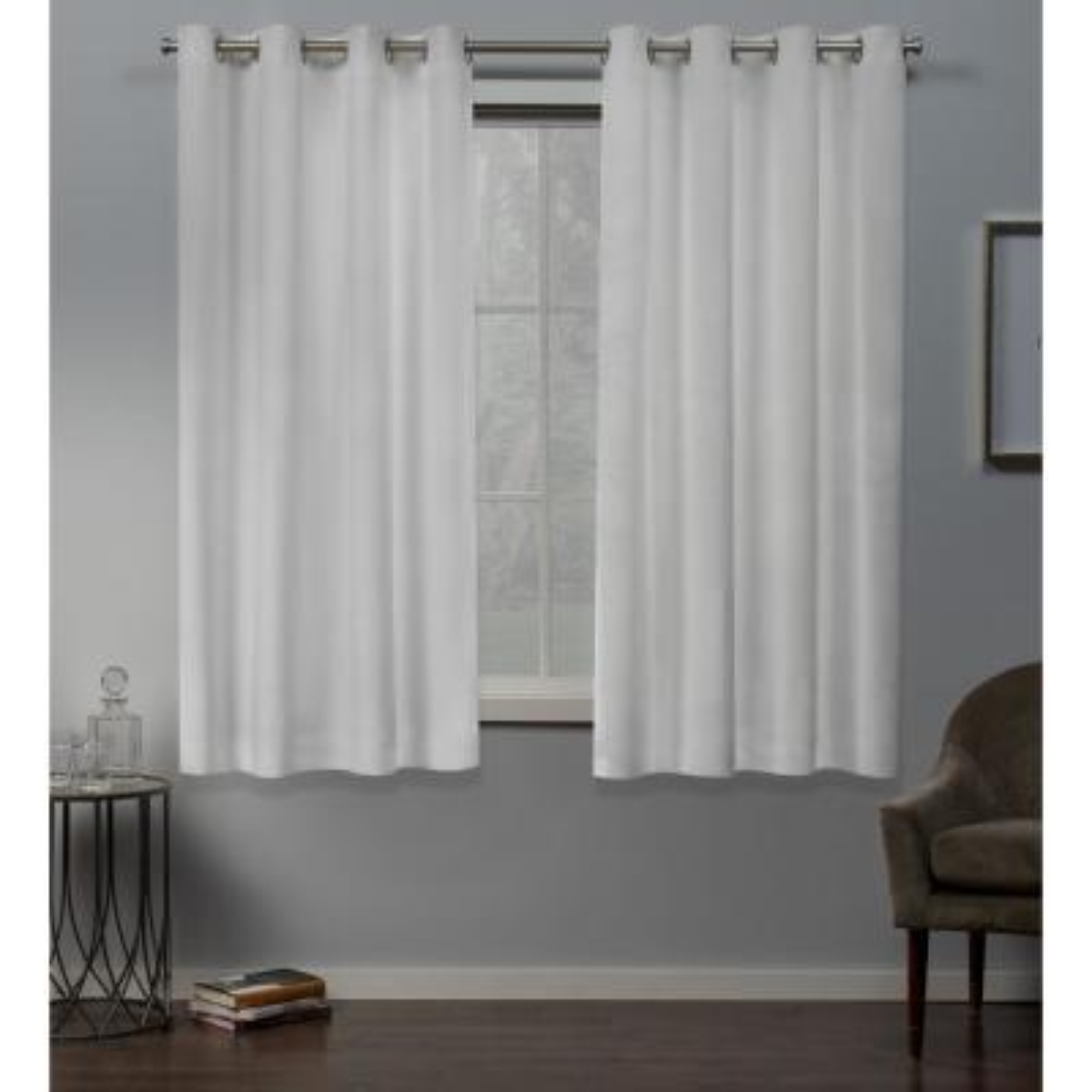 Velvet 54 in. W x 63 in. L Velvet Grommet Top Curtain Panel in Winter White (2 Panels)