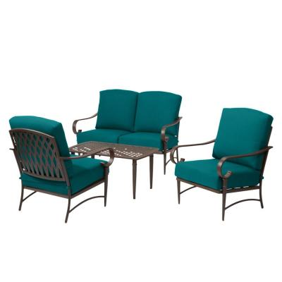 Oak Cliff Brown 4-Piece Steel Outdoor Patio Conversation Seating Set with Sunbrella Peacock Blue-Green Cushions