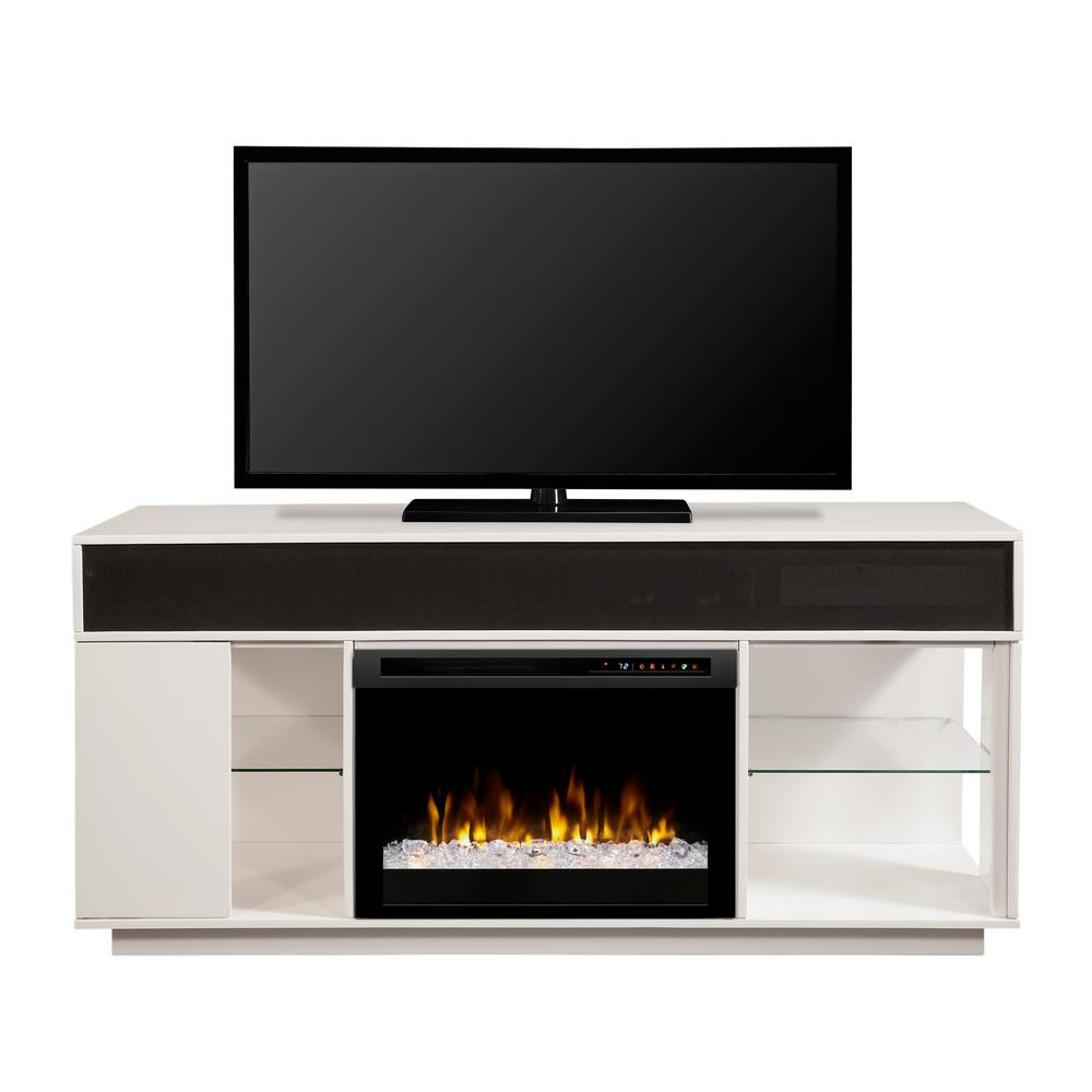 White media console classic flame rossville 54 in media White media console