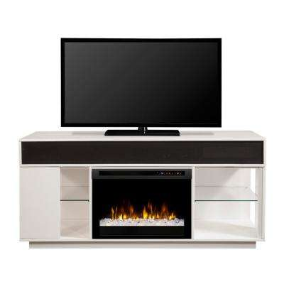 Audio Flex Lex 64 in. Freestanding Electric Fireplace TV Stand Media Console in White
