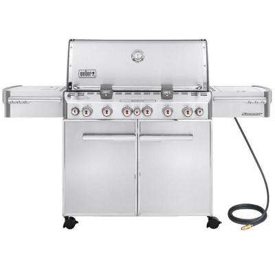 Summit S-670 6-Burner Natural Gas Grill in Stainless Steel with Built-In Thermometer and Rotisserie