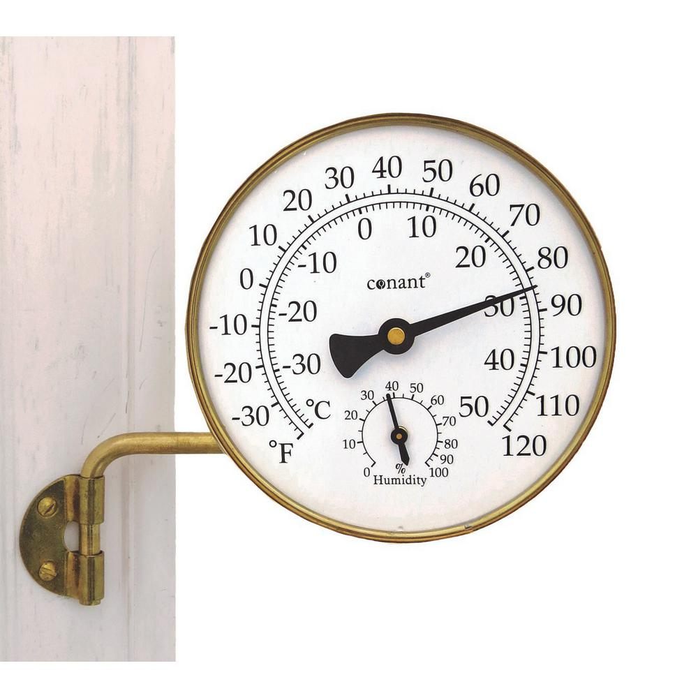 WEEMS & PLATH Vermont Weather Station Living in Brass The classic brass Vermont Weather Station makes a handsome and practical addition to outdoor decor. On a large, easy-to-read scale, the thermometer of the brass weather station measures temperature in both Fahrenheit and Celsius. The weather station has a hygrometer located on the lower portion of the dial that measures humidity. It is complete with a 3.5 in. L swivel arm and mounting bracket for trouble-free installation. The brass weather station is also perfect for placing outside a window so it peers in. Crafted of solid brass with a living finish, which over time will age beautifully into a nice patina and eventually, a desirable verdigris.