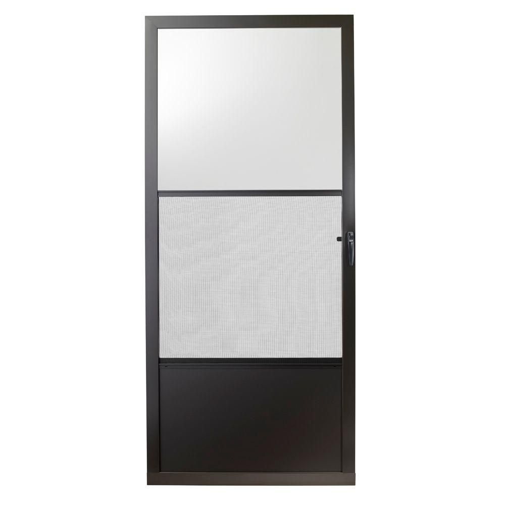Emco 32 In X 80 In 75 Series Bronze Self Storing Storm Door E75ss