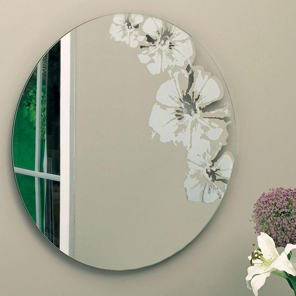 AZ Home and Gifts nexxt Flaunt 24 in. x 24 in. Wall Mirror with Frosted and Transparent Floral Design