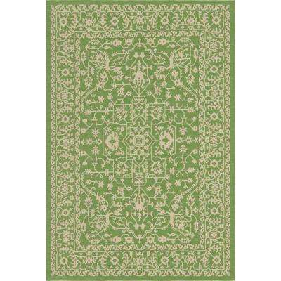 Outdoor Botanical Green and Beige 6' x 9' Rug