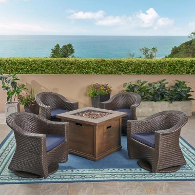 Noble House Morant Multi-Brown 5-pc Metal Patio Fire Pit Seating Set w/ Navy Blue Cushions