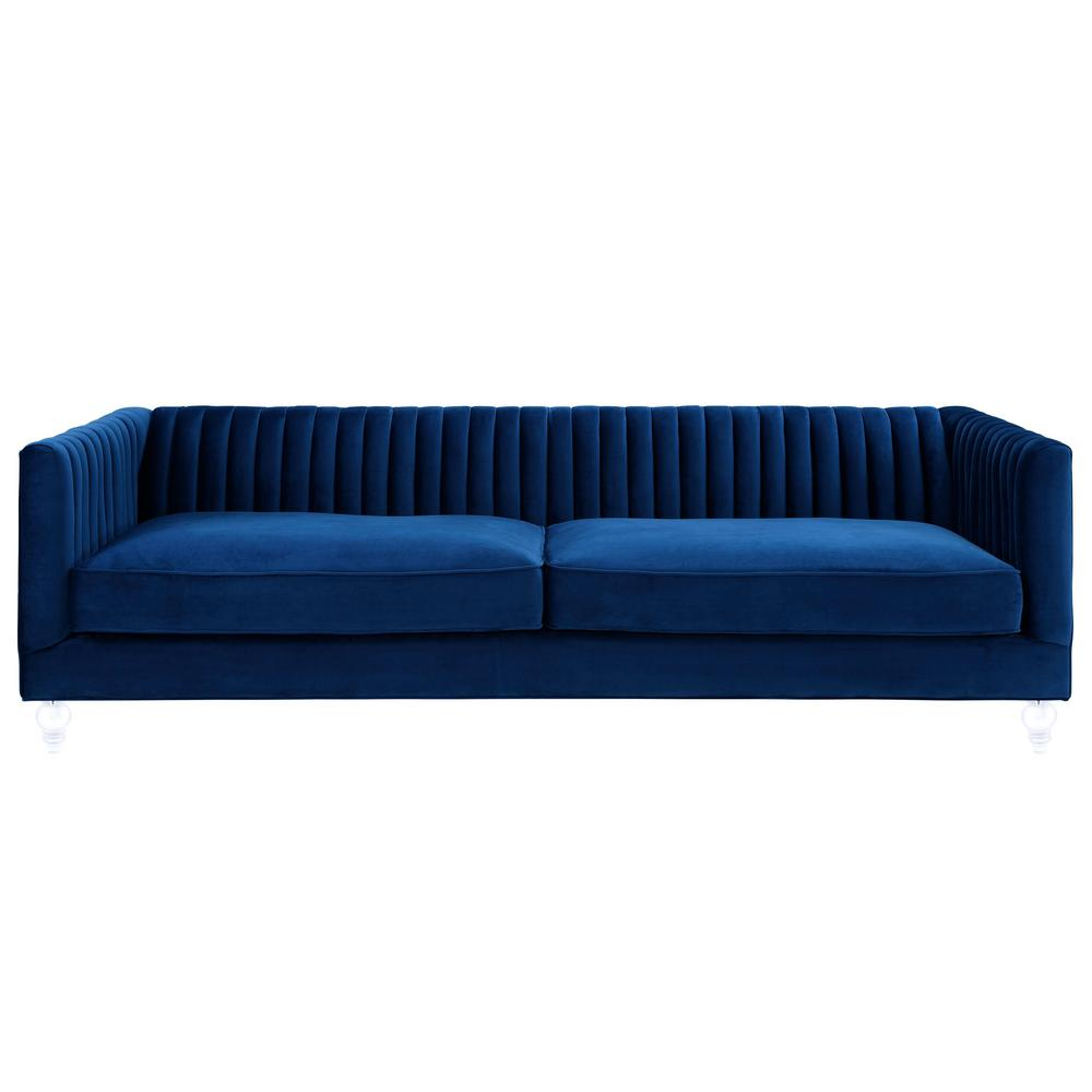 TOV Furniture Aviator Navy Velvet Sofa