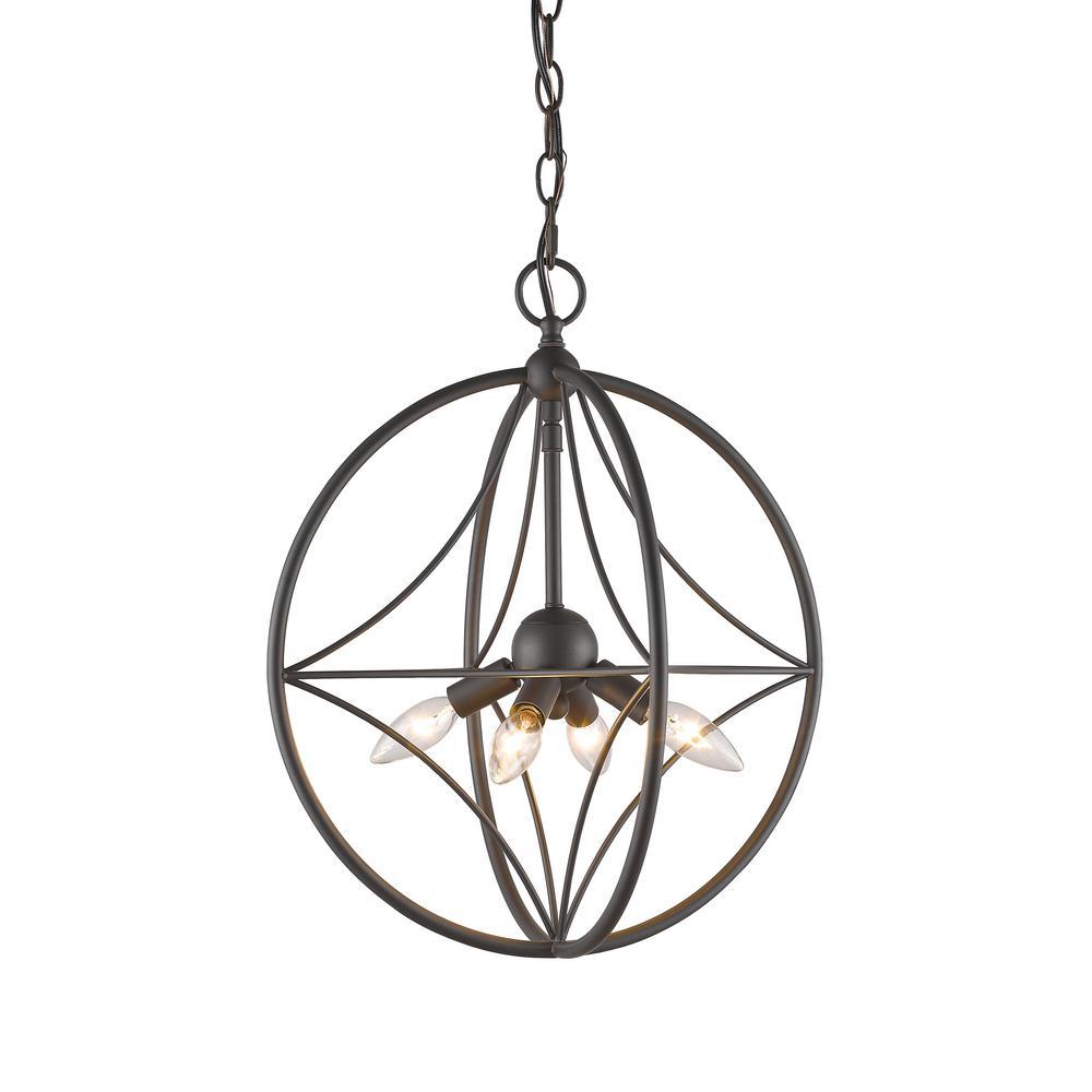 Casa 4-Light Bronze Pendant with Bronze Steel Shade