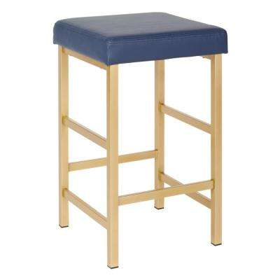 Metro 26 in. Gold Backless Stool in Blue