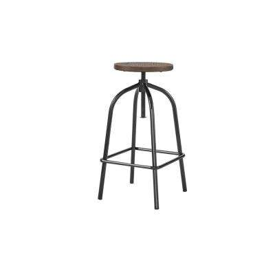 StyleWell Black Metal Adjustable Backless Counter Stool with Swivel (14.17 in. W x 24.41 in. H)