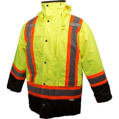 Men's Large Yellow High-Visibility Lined Reflective Safety Parka