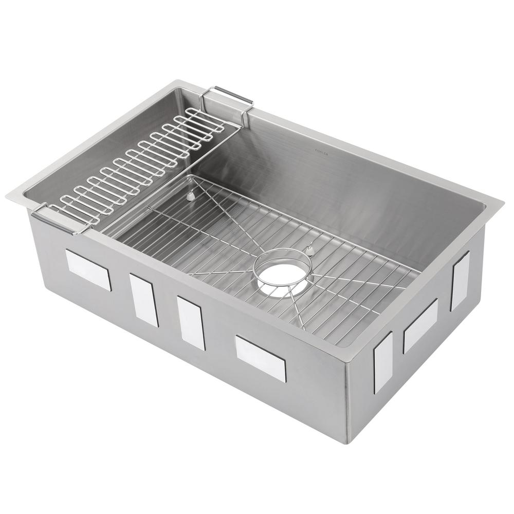 Kohler Strive Undermount Stainless Steel 29 In Single Bowl Kitchen Sink Kit With Rack