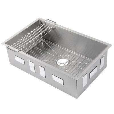 Strive Undermount Stainless Steel 29 in. Single Bowl Kitchen Sink Kit with Bowl Rack