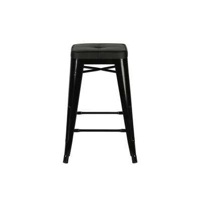 Salerno 24.5 in. Black Counter Stool (Set of 2)