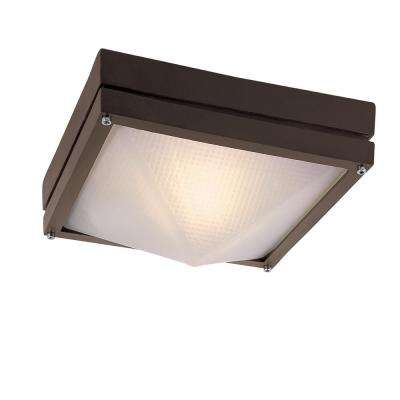 1-Light Indoor Rust Flush mount With Frosted Glass