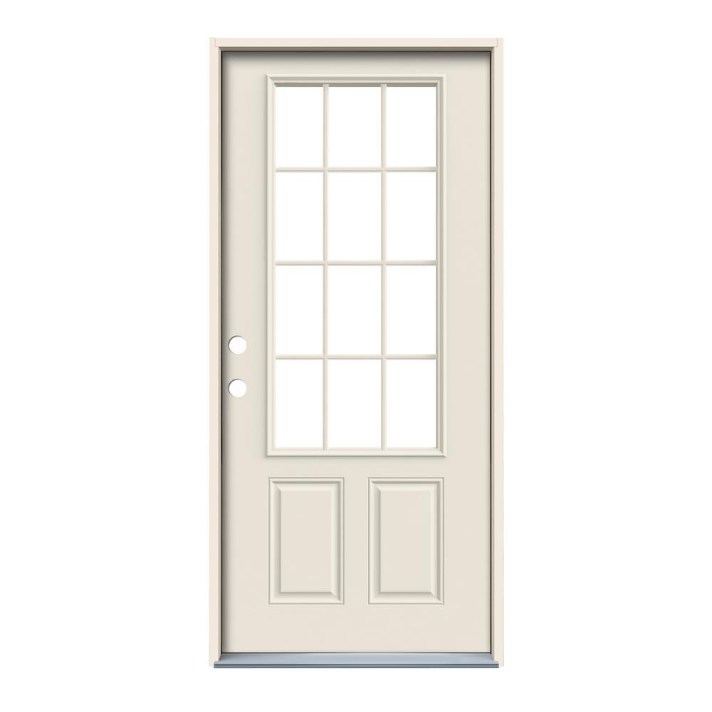 Jeld wen 36 in x 80 in 12 lite primed steel prehung for 12 lite door